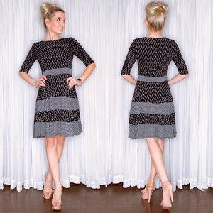 Long Sleeve Black Pattern Fit Flair Dress
